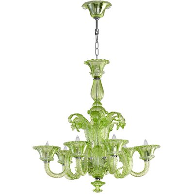La Scala 6-Light Candle-Style Chandelier Shade Color: Green
