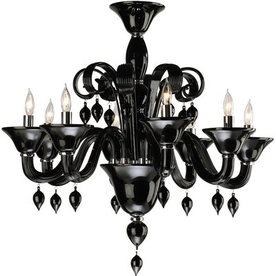 Treviso 8-Light Candle-Style Chandelier Color: Black