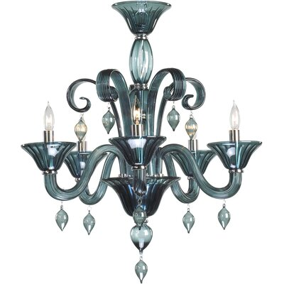Treviso 5-Light Candle-Style Chandelier Color: Indigo