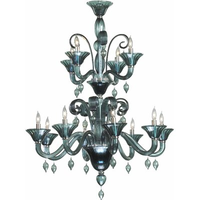Treviso 12-Light Candle-Style Chandelier Color: Indigo