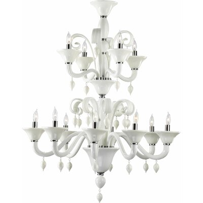 Treviso 12-Light Candle-Style Chandelier Color: White