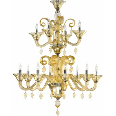 Treviso 12-Light Candle-Style Chandelier Color: Amber