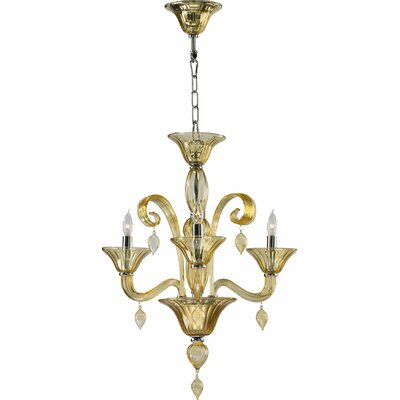 Treviso 3-Light Mini Chandelier Color: Amber