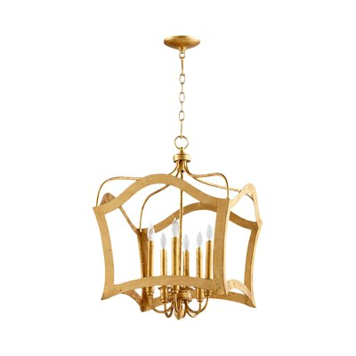 Milan 6-Light Foyer Pendant Finish: Gold Leaf