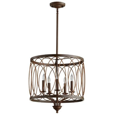 5-Light Drum Pendant Finish: Vermillion Cinder