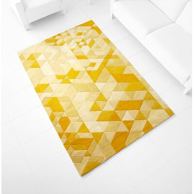 Facets Hand-Tufted Gold Area Rug Rug Size: 71 x 11