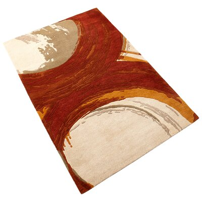 Percival Hand-Tufted Orange/Ivory Area Rug Rug Size: 710 x 111