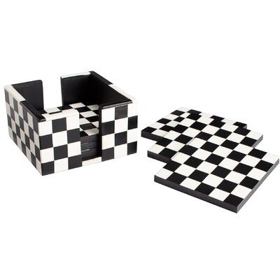 7 Piece Check Mate Coaster Set 8005