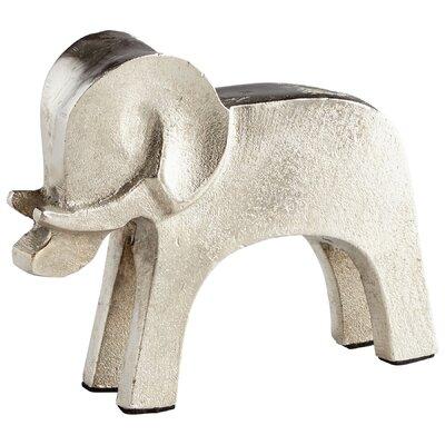 "Tusk Elephant Sculpture Size: 5.25"" H x 6.5"" W x 2"" D, Finish: Raw Nickel 08884"