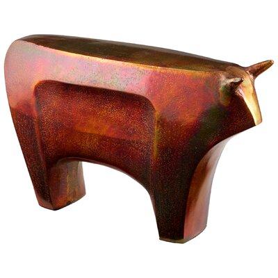 "Bovinity Bovine Sculpture Size: 6.25"" H x 10.5"" W x 2.5"" D, Finish: Burnished Copper 08888"