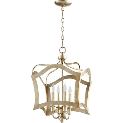 Milan 4-Light Foyer Pendant Finish: Aged Silver Leaf