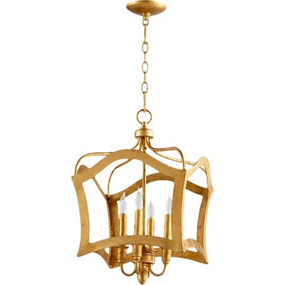 Milan 4-Light Foyer Pendant Finish: Gold Leaf
