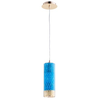 Kaska 1-Light Mini Pendant Shade Color: Blue, Size: 15 H x 4 W x 4 D