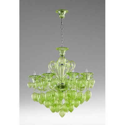 Bella 8-Light Candle-Style Chandelier Shade Color: Green