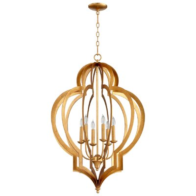 Vertigo 6-Light Foyer Pendant Finish: Gold Leaf
