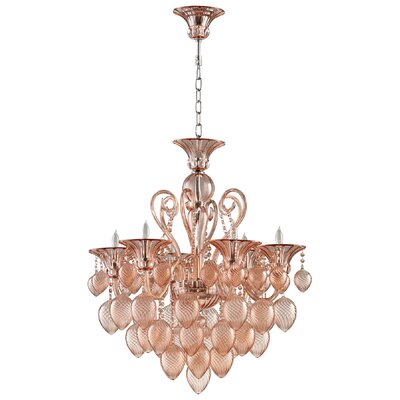 Bella 8-Light Candle-Style Chandelier Shade Color: Blush