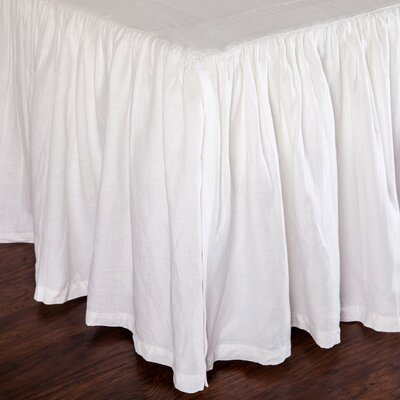 Gathered Linen Bed Skirt Size: King, Color: White