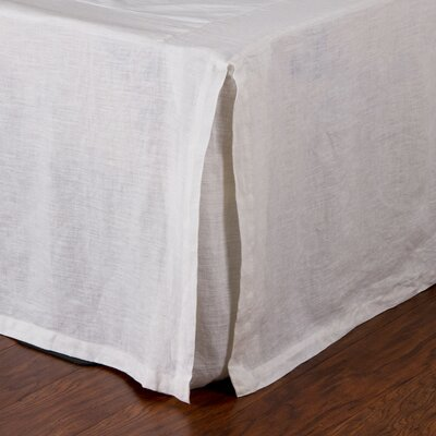 Pleated Linen Bed Skirt Color: White, Size: Twin
