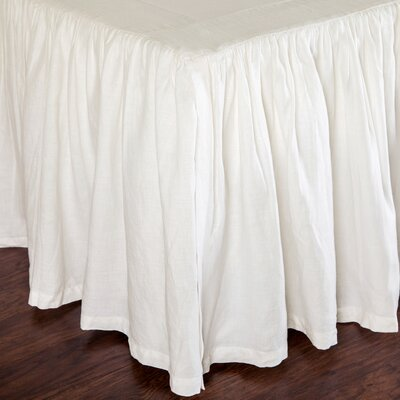 Gathered Linen Bed Skirt Color: Cream, Size: Queen