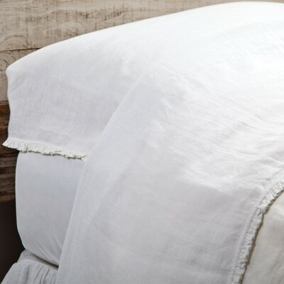 Charlie Linen Flat Sheet Size: King, Color: White