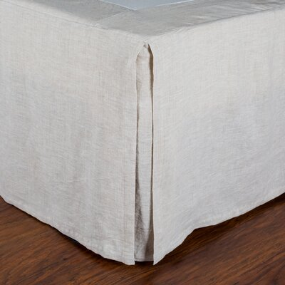 Pleated Linen Bed Skirt Size: Queen, Color: Flax