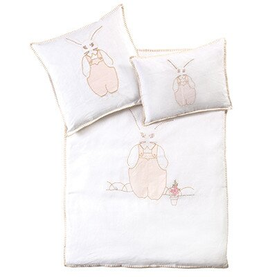 Bunnie Baby Crib Duvet Cover Color: White / Pink