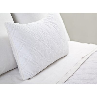Brussels Cotton Lumbar Pillow Color: White