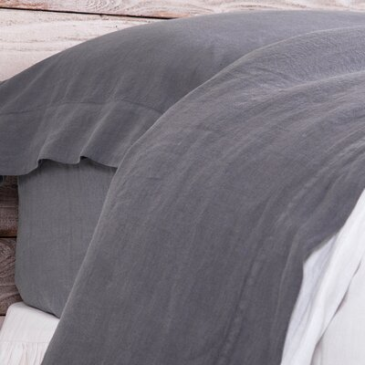 Louwie Linen Flat Sheet Size: King, Color: Slate