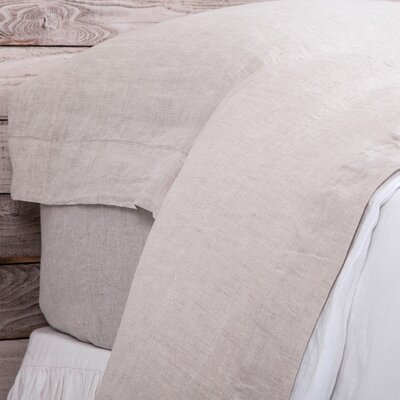 Louwie Linen Flat Sheet Size: King, Color: Flax