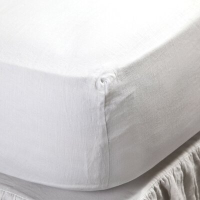 Linen Fitted Sheet Size: Twin, Color: White