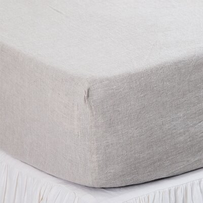 Linen Fitted Sheet Size: King, Color: Flax