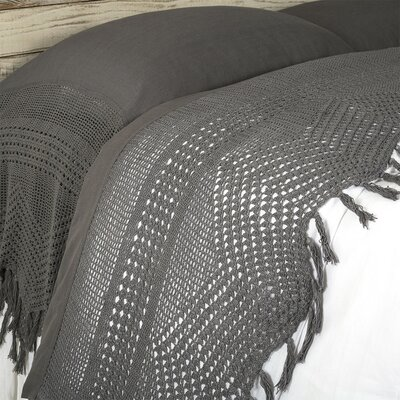 100% Linen Vintage Crochet Flat Sheet Size: King, Color: Midnight