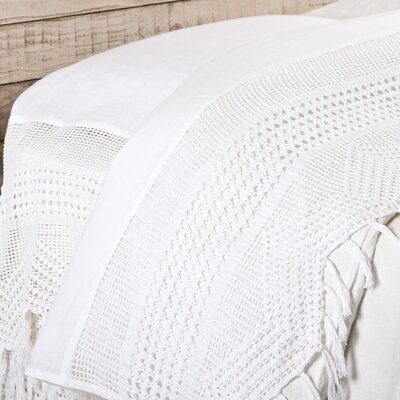 100% Linen Vintage Crochet Flat Sheet Size: King, Color: White