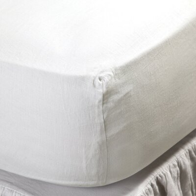 Linen Fitted Sheet Color: Cream, Size: Queen