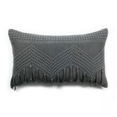 Vintage Crochet Linen Lumbar Pillow Color: Midnight