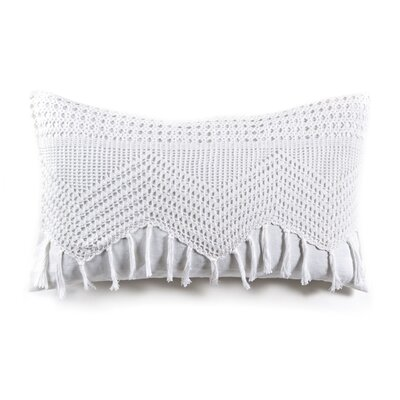 Vintage Crochet Linen Lumbar Pillow Color: White