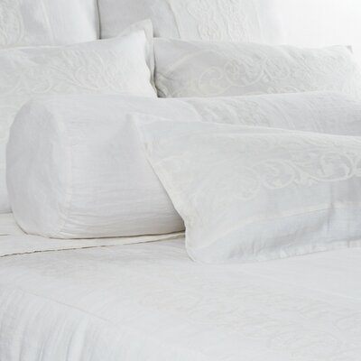 Allegra Linen Bolster Pillow Color: White