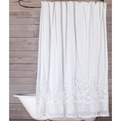 Caprice Cotton Shower Curtain Color: White