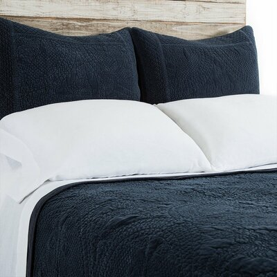 Marseille Coverlet Color: Navy, Size: King