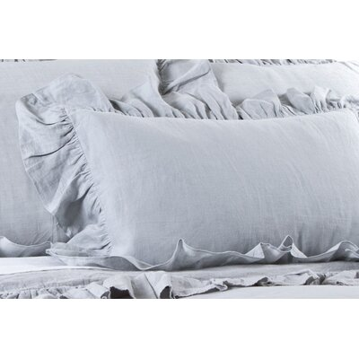 Allegra Linen Lumbar Pillow Color: Ocean