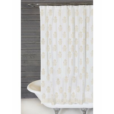 Bahaar Cotton Shower Curtain Color: White / Gold