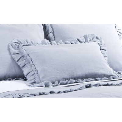 Mathilde Linen Lumbar Pillow Color: Ocean