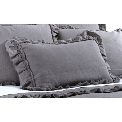 Mathilde Linen Lumbar Pillow Color: Gray Stone