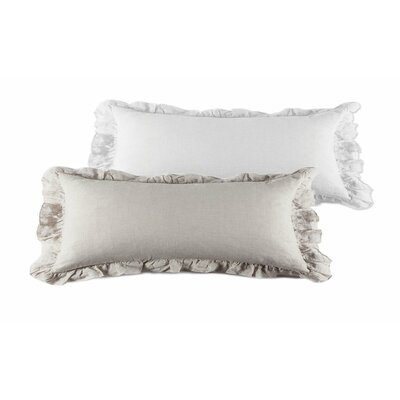 Charlie Linen Lumbar Pillow Color: White