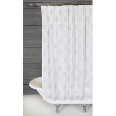 Bahaar Cotton Shower Curtain Color: White / Silver