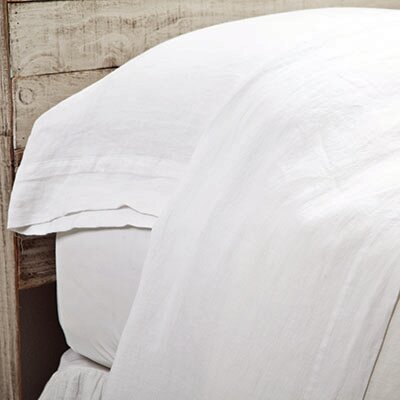 Louwie Linen Flat Sheet Size: King, Color: White