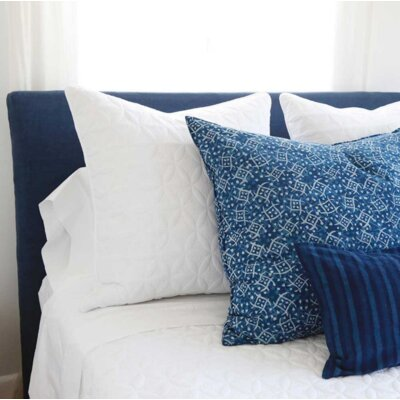 Doubled Stitched Short Headboard Slipcover Size: 48 H x 62 W x 2 D, Upholstery: Indigo