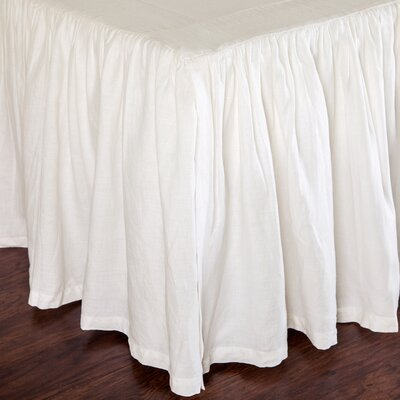 Gathered Linen Bed Skirt Color: Cream, Size: Twin
