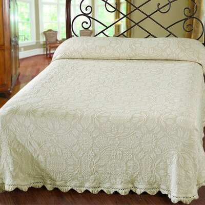 Maine Heritage Weavers Colonial Rose Matelasse Bedspread - Color: French Blue, Size: Queen