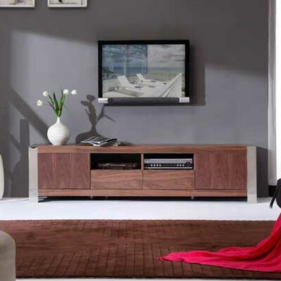 Composer 79 TV Stand Color: Light Walnut and Polished Stainless Steel